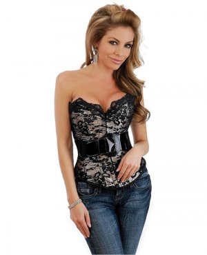 Strapless lace overlay belted outerwear corset & thong black medium