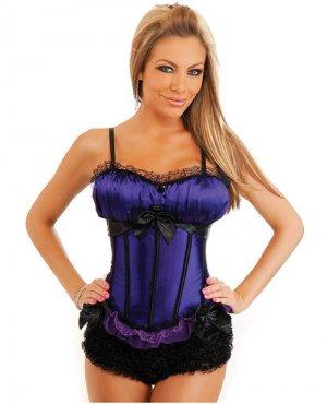 Peasant burlesque corset w/side zipper closure, lace up back, removable straps & thong purple lg