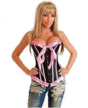 Bubblegum dreams burlesque corset front busk closure w/lace up back & thong pink & black xl