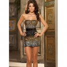 Dream girl brand sequin strapless dress, belt, & thong black large
