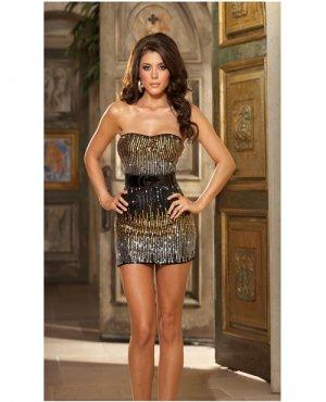 Dream girl brand sequin strapless dress, belt, & thong black large