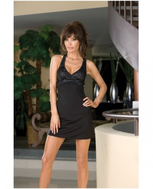 Hanging microfiber dress w/sequin bust, criss cross back & thong black medium
