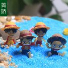 4pcs Luffy One Piece Figure Fairy Garden Miniature Minions Micro Landscape Decor