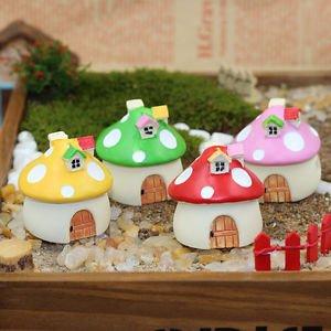 4 Mini Resin Mushroom House Miniature Fairy Garden Terrarium Decorative art Toy