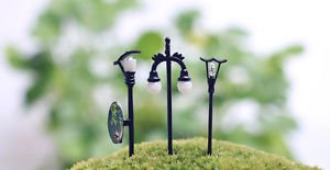 3PCS Mini Street lamp Fairy Garden Miniature Figure Decor Art Micro Landscape