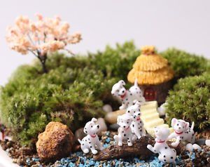 6PCS Mini Spotted Dog Figure Fairy Garden Accessories, Miniature Minions Figurin