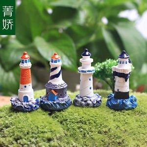 4PCS lighthouse tower Figure Toy Display Fairy Garden Landscape Terrarium Decor