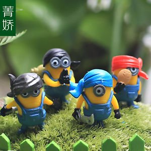 4PCS Mini Despicable Me Figure Toys Pirate  Collectibles Garden Terrarium Decor