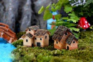 2x Fairy Garden Accessories Cottage House Figures Vintage Mini House Decor