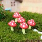 5pcs Red Mushroom Miniature Fairy Garden Accessories,Figurines Terrarium Plants