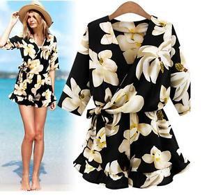 Women Summer Dress Floral Chiffon Short Jumpsuit Romper Playsuit Loose S-5XL