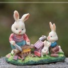 Rabbit Family Figure Fairy Garden Accessories Miniature Figurine Terrarium Decor