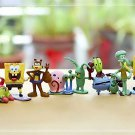 8pcs Set Mini Figures Spongebob PVC Action Figures Collectibles Toys Display