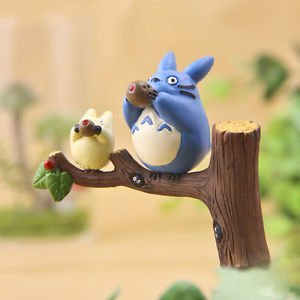 3pc Set Totoro Blue White Cat on Tree Branch Figure Toy Garden Woodland Decor