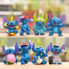 8pcs Set Mini Figures Stitch Toys Collectibles Fan Gift Display Garden Fairies