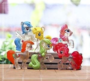 6pcs Transparen Horse My Little Pony Mini Figures Toy Collectibles Fairy Garden
