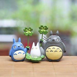 3pc Set Totoro Mini Cat Lotus pond Scenario Figure Toy Fairy Gardens Woodland