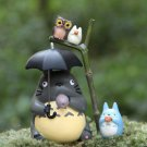 4Pcs Set Blue Totoro Little Jiza Owl Figure Fairy Garden Toys Terrarium Decor