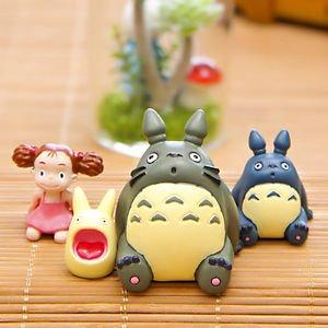 4Pcs Sitting Totoro Jiza Mei Figure Toys Fairy Garden Miniatures Display Decor