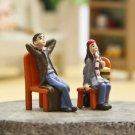 ZAKKA 2PC Sitting Couple Fairy Garden Accessories Miniature Dollhouse Figure Toy