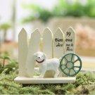 ZAKKA White Dog Fence Micro Landscape Fairy Garden Miniature Figure Toy Decor