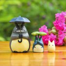 3Pcs Set PrayTotoro Cat Figure Ww/ Umbrella Toys Fairy Garden Succulent Decor