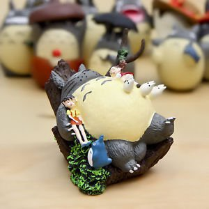 Tonari no Totoro Sisters on Sleeping Cat Tree Figure TOY Fairy Garden Miniature