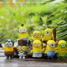 8pcs Mini Despicale Me Figure Toy Yellow Miniature Figurine Garden Fairies Decor