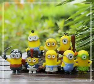 8pcs Mini Despicale Me Figure Toy Yellow Miniature Figurine Garden Fairies Decor