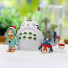 4pc Winter Snow Totoro May Cat Figure Fairy Garden Toy Display Decor Collectible