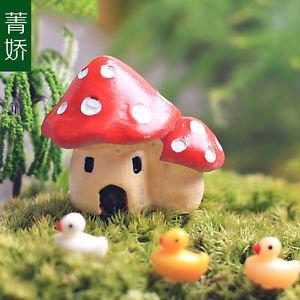 4 Twin Mushroom Fairy Garden Dollhouse Miniature Figurines DIY Zakka Decor Toys
