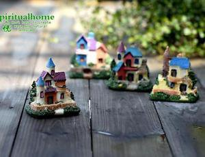 4XMini Villa Castle House Fairy Garden Accessories, Mini Dollhouse Figure Decor