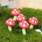 10 Red mini Spotted Mushroom figure fairy garden miniature Terrarium Decor