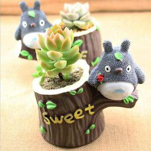 Totoro on Tree Miniature Fairies Desk Display Flowerpot Succulent Container Pen