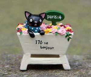 Black Cat Rose Figurine Miniature Fairies Garden Toy For Terrarium Succulent