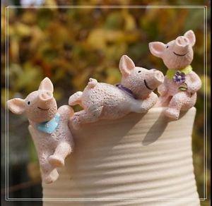 3pc Pig Mini Figurine Fairy Garden Miniature Terrarium Decoration Home decor