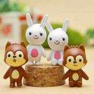 4x Wolf Rabbit Figurine Collectibles Toys Gardening Suppliers Fairy Garden