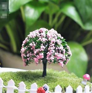 Pink Flower Artificial Trees Zakka Figure Decor Fairy Garden Miniature Toy Displ