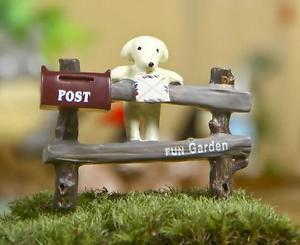 ZAKKA Post Fence Dog  Figurine Fairy Garden Toy Decor For Terrarium Succulent