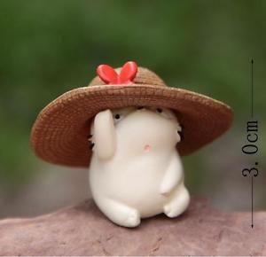 Fat White Totoro W/ Hat Figurine Toy Collectible Fairy Garden Miniature Decor