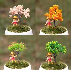 4x cherry tree Peach tree Gardener Artificial Trees Zakka  Garden Mini Decor