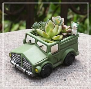 Vintage Car Succulent Flowerpot Plants Gardening Container Fairy Garden Decor