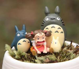 4pc Sitting Mei Totoro Figurine Home Decor Ornaments Fairy Garden Miniature Toys