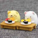 2pc Adorable  Cat Bear Sushi Table DIY landscaping doll Figure Mini Toy Garden