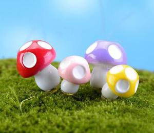 10 Mixed Colorful Spotted Mushroom figure fairy garden miniature  Decor  S M L