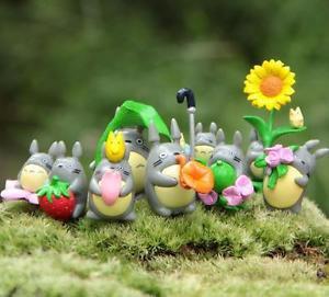 9pc Flower Plants Totoro Set Figurine Desk Display Home Decoration Fairy Garden