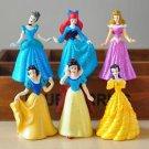 6pc Disney Snow White Cinderella Belle  Figure Toy Collectible Cake Topper Decor