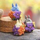 ZAKKA 3pc Set Flower Totoro Cat Figure Toy Fairy Garden Decor Collectibles