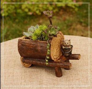 Artificial Wooden Car Succulent Flowerpot Plants Gardening Container Fairy Garde