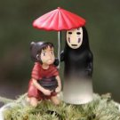 2pc Spirited Away No Face Ghost Mini Figurine Home Decor Fairy Garden Toy